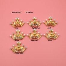 Frete grátis chapeamento de ouro 43*30mm strass coroa tiara flatback mix cores 50 pçs/lote (BTN-HG09)