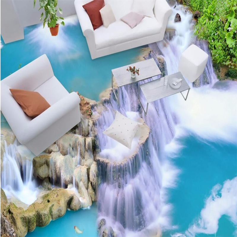 beibehang Floor painting papel de parede 3D photo wallpaper clear river stone Bathroom Floor Mural Wall paper pvc self adhesive beibehang custom papel de parede 3d floor wallpaper self adhesive living room bedroom bathroom floor mural photo wall paper roll