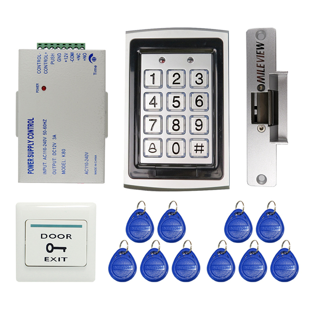 Ordinaire MILEVIEW DIY RFID Keypad Metal RFID Door Entry Access Control Kit +  Electric Door Strike Lock