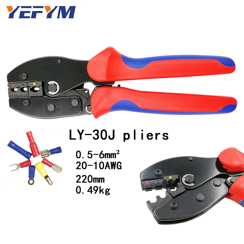 YEFYM LY-30J crimping tools pliers for 22-10 AWG 0.5-6.0mm2 of Insulated Car Auto Terminals & Connectors Crimping Plier wireYEFYM LY-30J crimping tools pliers for 22-10 AWG 0.5-6.0mm2 of Insulated Car Auto Terminals & Connectors Crimping Plier wire