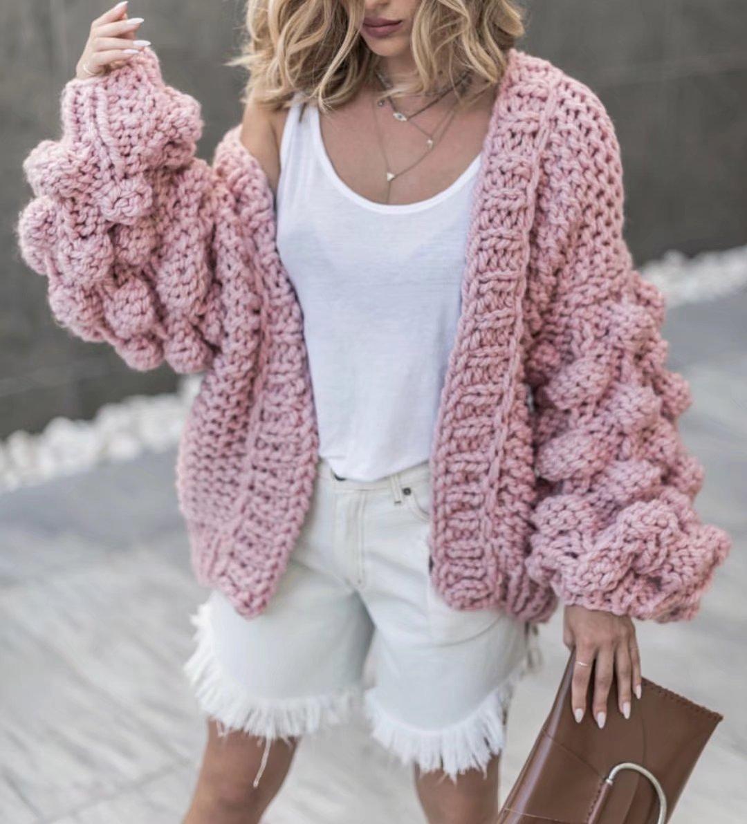 Hand Made Pink Coarse Knitted Sweater Women Streetwear Winter Lantern Sleeve Cardigan Coat Knitted Casual Warm Shawl Sweaters