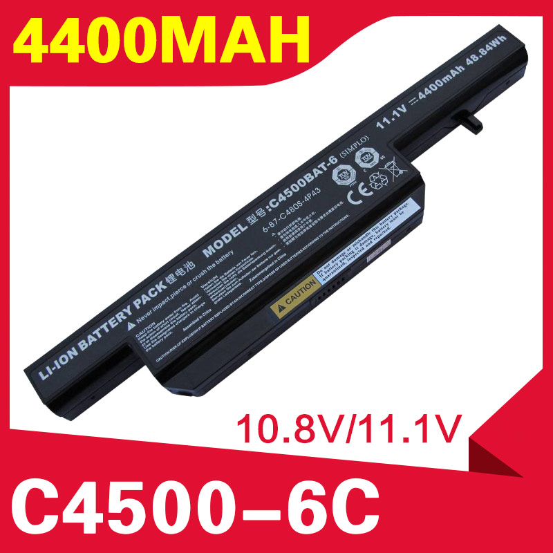 ApexWay 6 CELL 11.1V  Laptop Battery for CLEVO C4500BAT-6 W250H W251 W271 C4501 C4505 A6-87-C480S-4P4 C4500 B4105 C4100