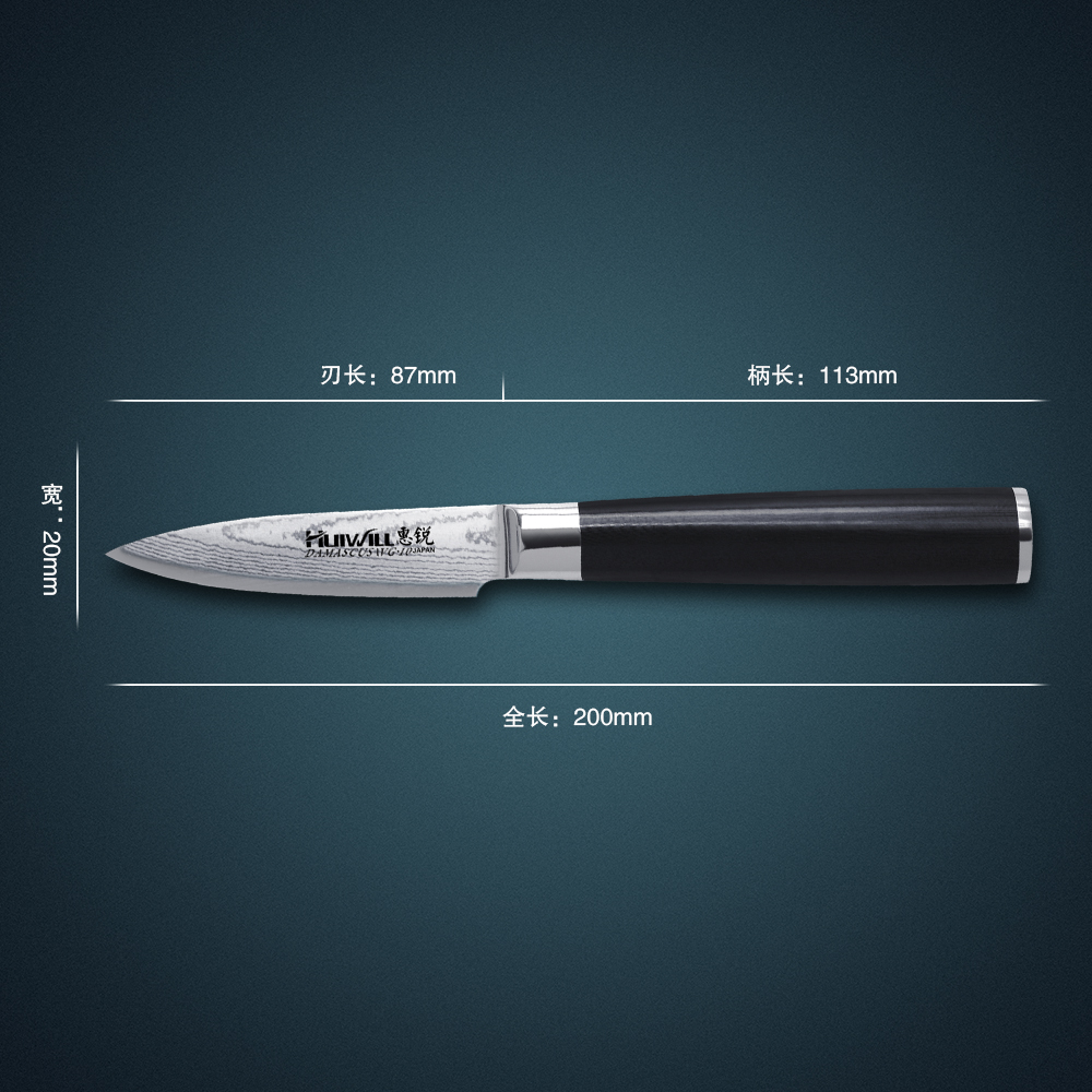 Huiwill hot sale 67 layers Japanese VG10 Damascus stainless steel 3 5 Fruit Paring utility knife