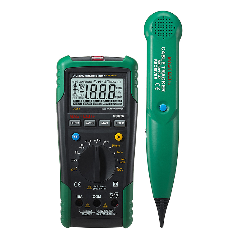 MASTECH MS8236 Auto Range Digital Multimeter LAN Tester Net Cable Tracker Tone Telephone line Check Non-contact Voltage Detect 1 pcs mastech ms8269 digital auto ranging multimeter dmm test capacitance frequency worldwide store
