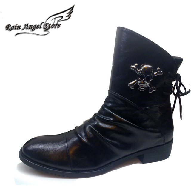 Fashion Men Boots Genuine Leather Motorcycle Boots Men Pointed Leather Metal Skull Boots Zipper Botas Masculina