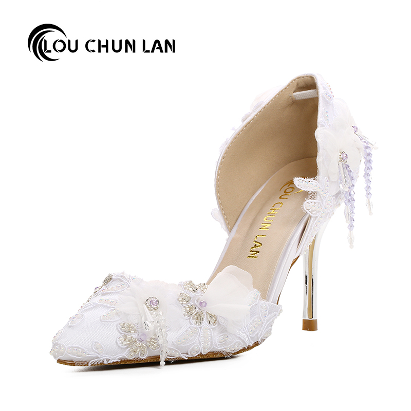 female sandals wedding shoes White lace flower rhinestone bridal shoes ultra high heels thin heels shoes thin heels pointed toe white pearl rhinestone wedding shoes 7cm 9cm thin heels shoes fashion bridal shoes female party sandals