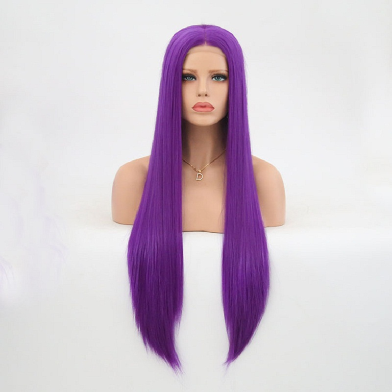 Charisma Dark Purple Synthetic Long Straight Hair Lace Front Wigs Glueless For Women Natural Hairline 150