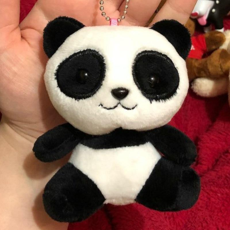 Super Hot New 4colors Key Chain Ring Pendant Plush Toys Lover Panda 10cm Plush Stuffed Toys Wedding Gift Panda Plush Toy Yet Not Vulgar