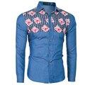 Men Shirt Luxury Brand 2017 Male Long Sleeve Shirts Casual Mens Stitching Denim Line Slim Fit Dress Shirts Mens Hawaiian 2XL YAA