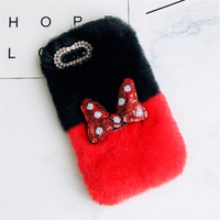 Warm Rabbit Fur Hair Case Crystal Luxury DIY Diamond Phone Cover Handmade Back Case For Xiaomi