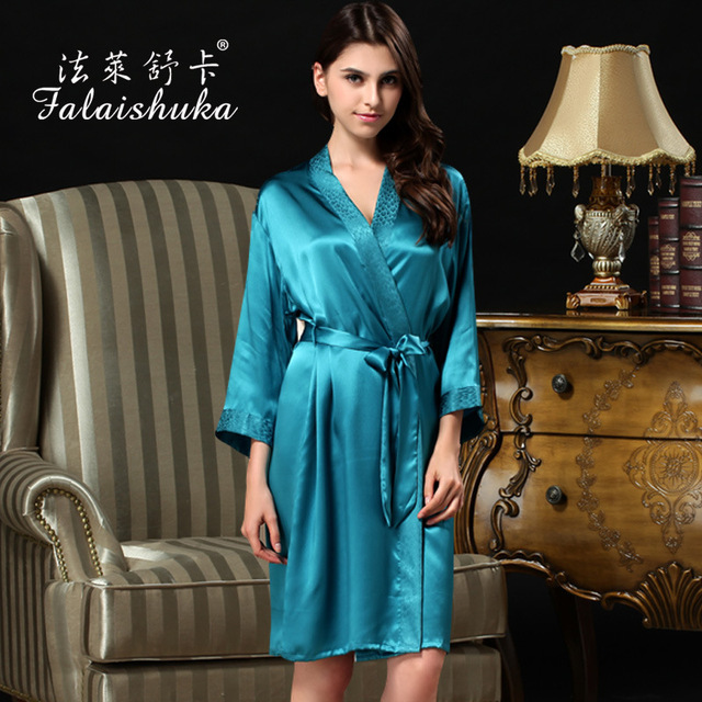 100% Natural Silk Bathrobes Female Solid Color Women Robe Sets Sexy V-Neck Silk Nightgowns Two-Piece Sleepwear S817