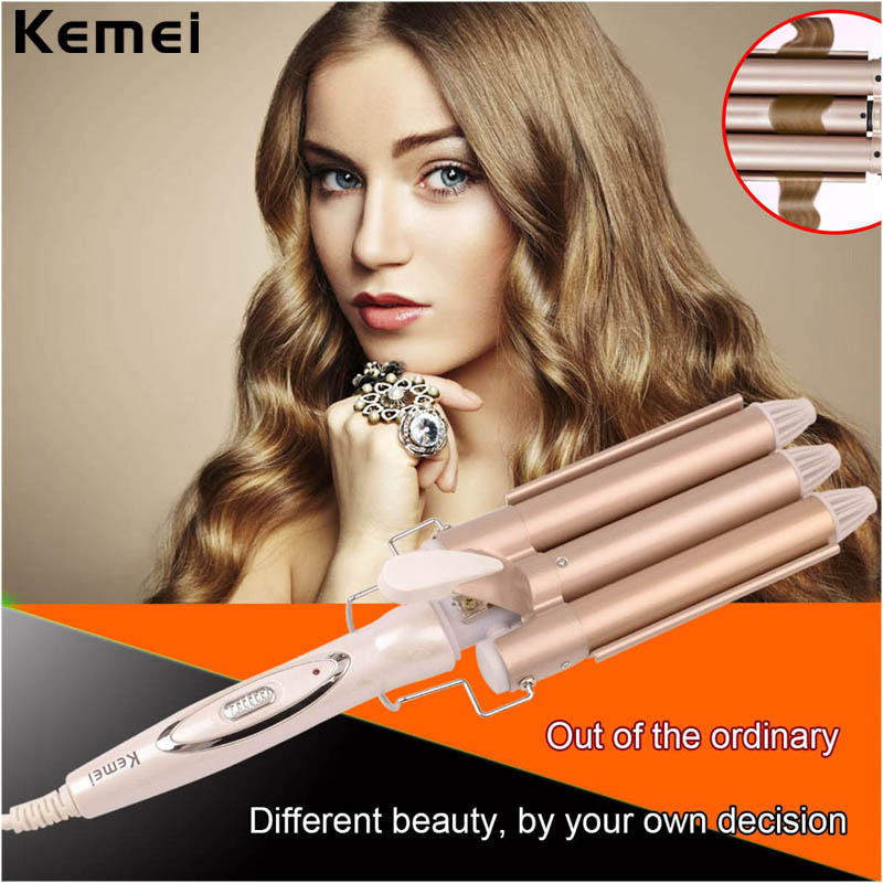 110-220V Kemei Professional Ceramic Hair Curler Triple Barrel Hair Curling Iron Curler Wave Electric Hair Styler Styling Tools ckeyin 9 31mm ceramic curling iron hair waver wave machine magic spiral hair curler roller curling wand hair styler styling tool