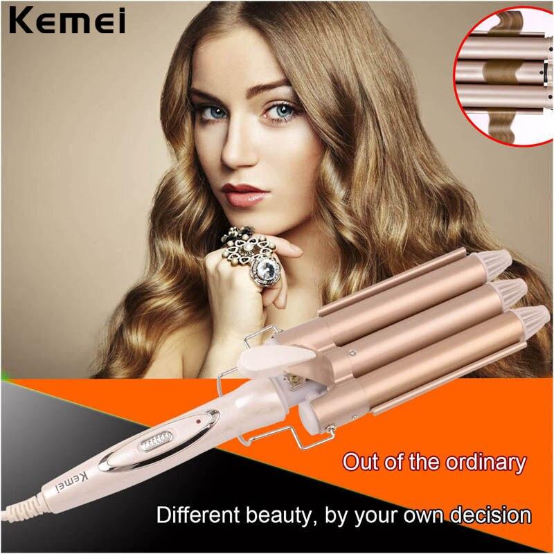 110-220V Kemei Professional Ceramic Hair Curler Triple Barrel Hair Curling Iron Curler Wave Electric Hair Styler Styling Tools