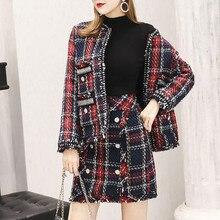 Skirt Suits Women Runway Designer Elegant Office Ladies Formal Tweed Wool Plaid Blazer Jacket Mini 2 Piece Set 2019 Winter