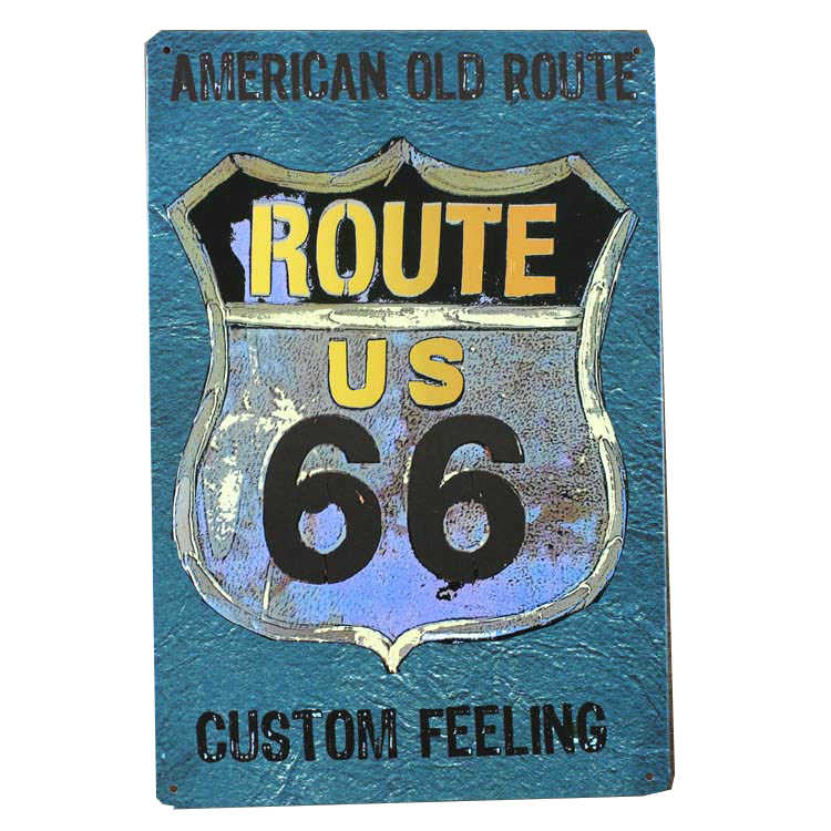 vintage vintage home decor retro tin signs vintage metal signs painting route 66 usa custom feeling - Custom Signs For Home Decor