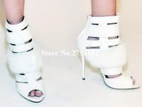 Real Photo Women White Leather Open Toe Fur Short Gladiator Boots Cut Out Feather High Heel