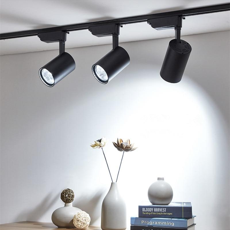 COB 12 W 20 W 30 W Luz de pista Led de techo de aluminio carril punto de iluminación carril focos reemplazar halógeno lámparas AC220V