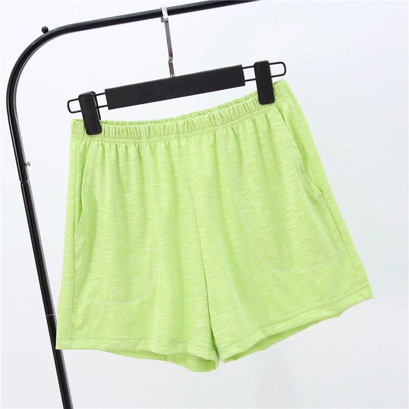 Летние женские шорты, тянущиеся, бамбуковые, хлопковые Пижамные штаны, свободная одежда для жизни, одноцветные женские штаны, нижнее белье, одежда для сна, пижама - Цвет: Fruit green