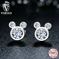 VOROCO Popular 925 Sterling Silver Dazzling Miky Mouse Push-back Stud Earrings Compatible with VRC  Women Jewelry S457