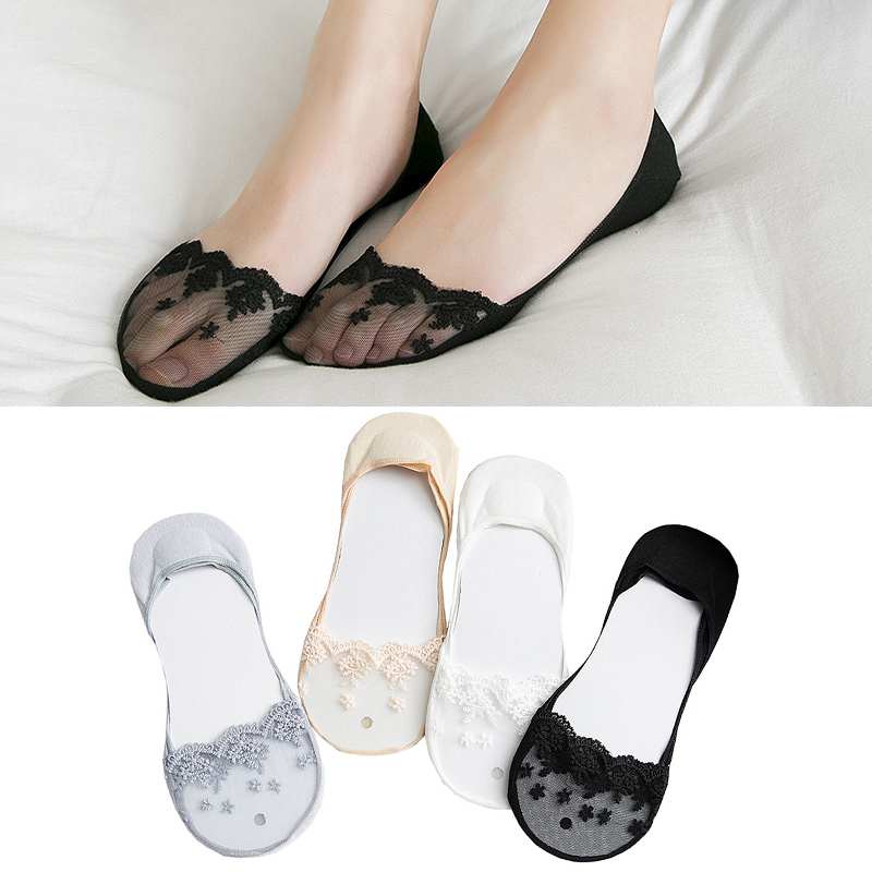 1pair Transparent Short Lace Socks Women Summer Hollow Out Boat Socks Slippers Female Antiskid Low Cut Cotton Invisible Socks in Sock Slippers from Underwear Sleepwears