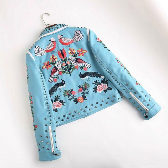 100%Women leather jacket embroidery locomotive leather jacket runway designer high quality embroidered embroidery leather jacket