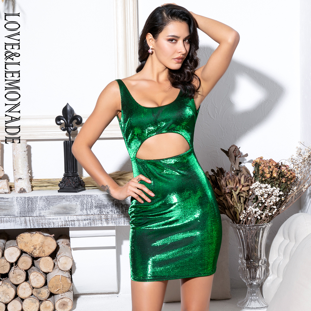 LOVE&LEMONADE Green Party Mini Dress LM81795