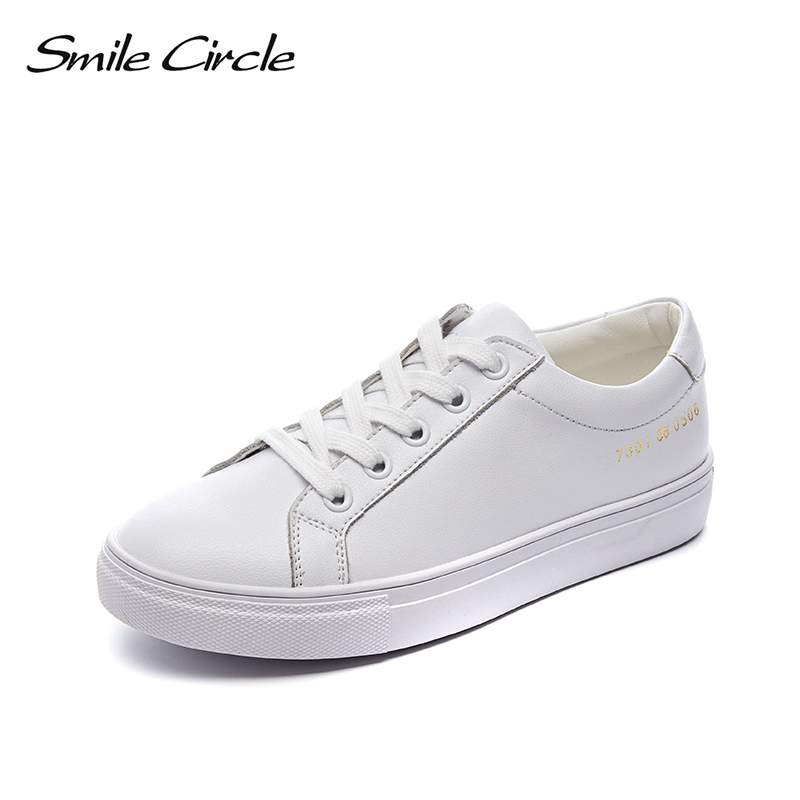 Smile Circle Genuine Leather White Sneakers Women Lace up Flat Casual shoes Spring New fashion Couple