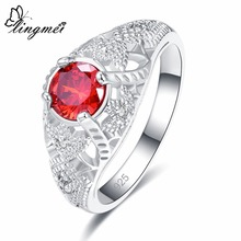 lingmei Wedding Ring For Women Man Concise Classical Multicolor Mini Cubic Zirconia Silver Fashion Jewelry Gift Size 6 7 8 9