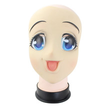 Grand yeux fille visage complet Latex masque demi tête Kigurumi masque dessin animé Cosplay japonais Anime rôle Lolita masque Crossdress poupée(China)