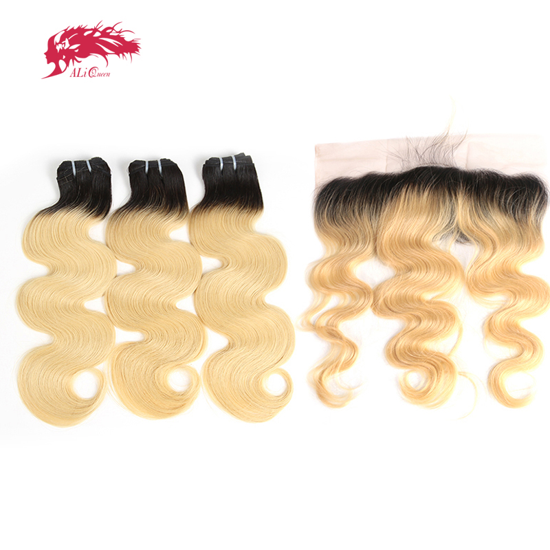 Ombre Bundle With Frontal Closure 1B/613 Honey Blonde Brazilian Body Wave Virgin Human Hair Free Part 13x4 Lace Pre-Plucked