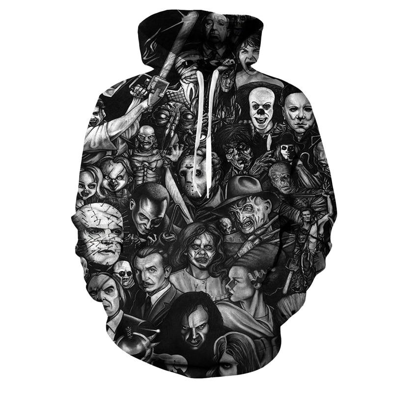 Hoodies & Sweatshirts Movie It Hoodie Pennywise Clown Stephen King 1990 Demented Clowns Shtick Horror Movie Hoodie Sweatshirt Cosplay Tracksuit Xxs