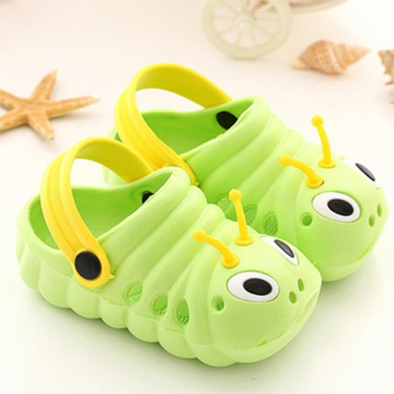 Scsech Cute Cartoon Caterpillar Children Cool Slippers Summer Baotou Men And Women Tong Hole Shoes Soft Bottom Anti Slip S8S43 number