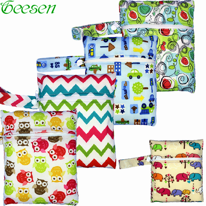 Small Wet Bag for Nappies Wipes Zig Zags Cloth Pads Breast Pads