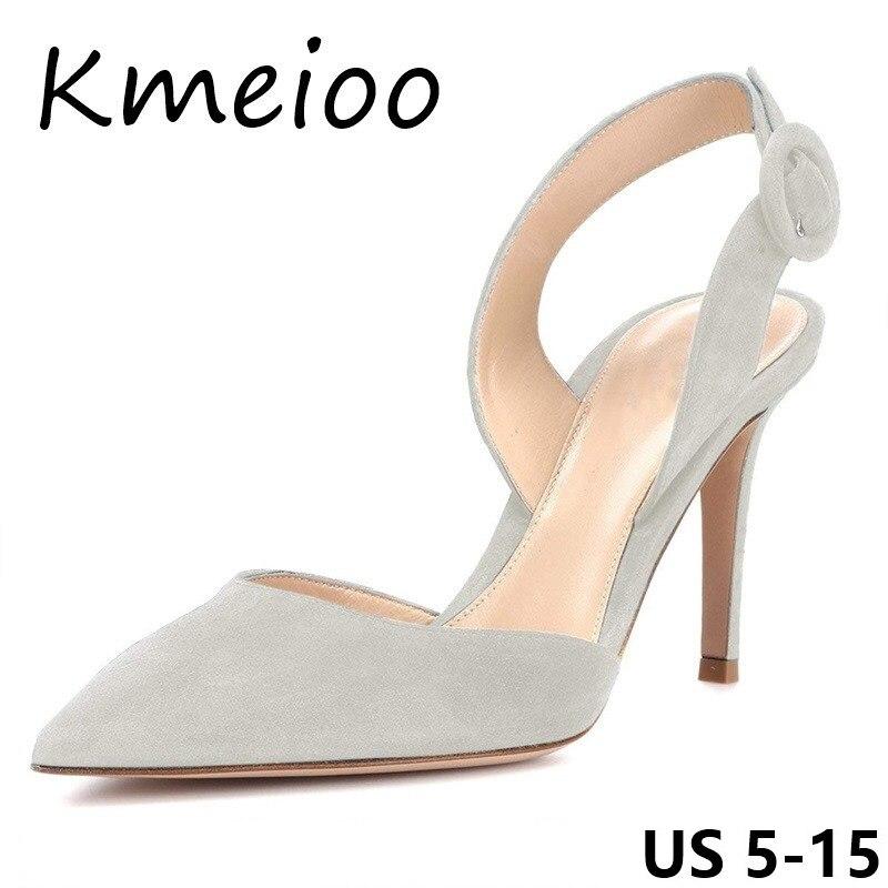 Kmeioo Chaussures Femmes NOUS Taille 5-15 Haute Talons Slingback Pompes Slip sur Stiletto Bout Pointu Glisser Chaussures D'été femmes Sandales