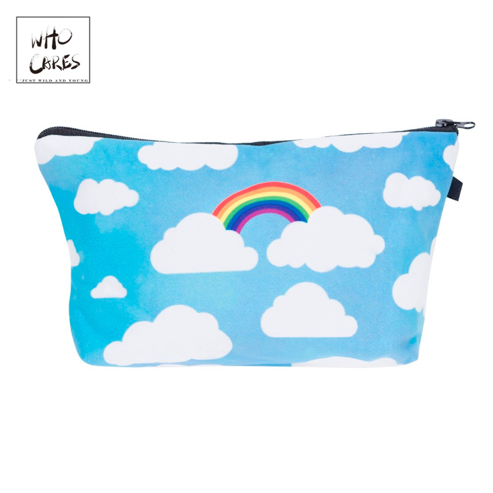 Who Cares Fashion Cosmetic Organizer Bag Rainbow Clouds 3D Printing  Makeup Bags Ladies Pouch Women Cosmetic Bag