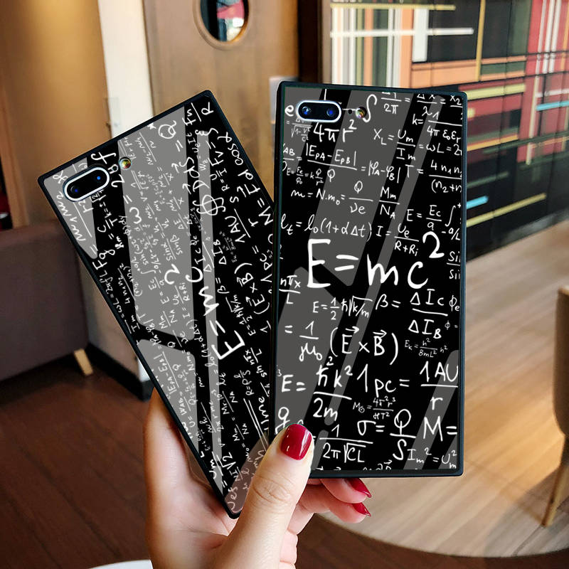 Luxury Silicone + Tempered Glass Case for iphone 8 e=mc Fractal Math equation Case for iPhone 10 X 6 6S 7 Plus Capinhas Fundas case para iphone 10