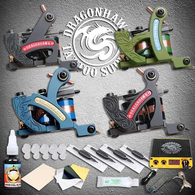 Professional New Style Tattoo Machine Guns Tattoo Kit Sets Mini Power Supplies