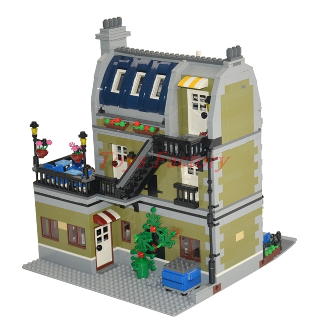 2017 DHL MOC LEPIN 15010 City Street Parisian Restaurant Model Building Kits Set Blocks Toy Clone 10243 Diy Toys