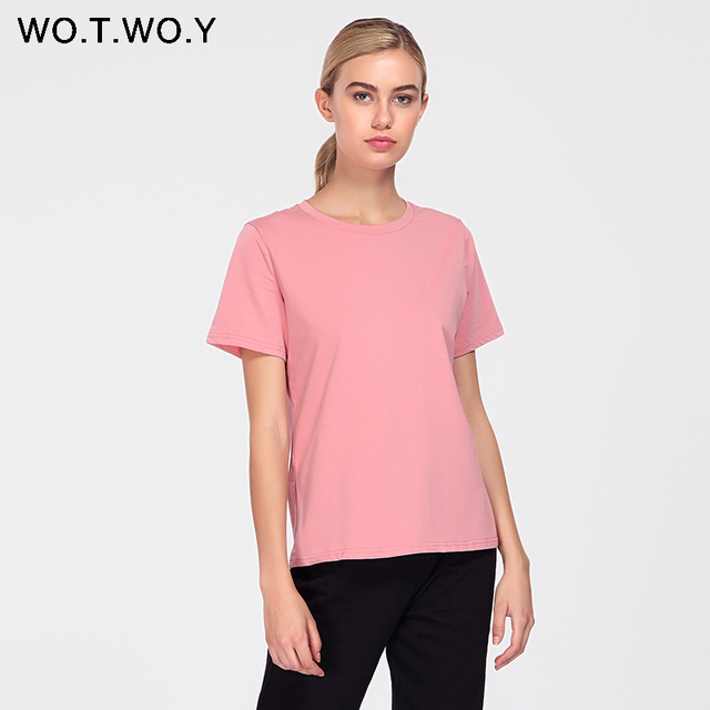 WOTWOY 2018 Summer Cotton T Shirt Women Loose Style Solid Tee Shirt Female Short Sleeve Top Tees O-Neck T-shirt Women 12 Colors