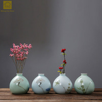 Porcelain Ceramic Vase Chinese Jingdezhen For Homes Antique Jarrones Teraryum Chinese Celadon Vase For Flower Decoration QAB100