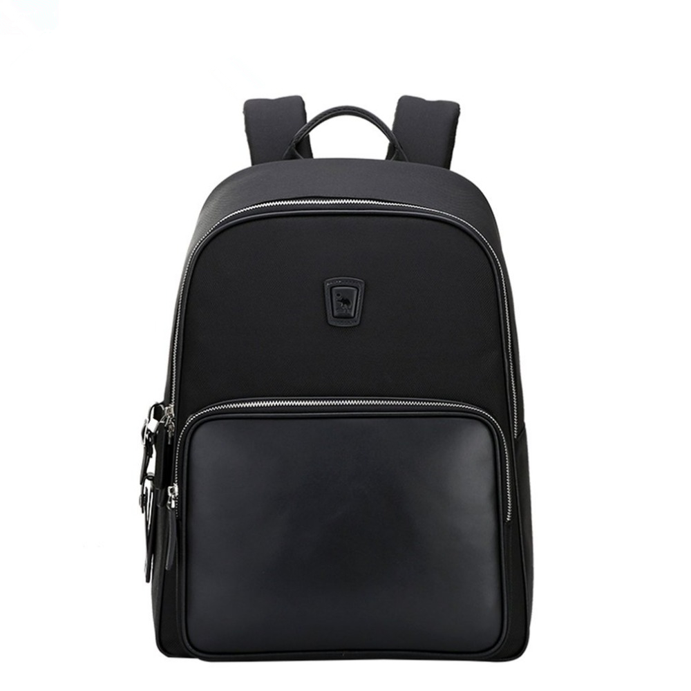 Oiwas Large Capacity Men Women Nylon Backpack Casual Solid Color Business Bag College Travel School Notebook Bag Black oiwas multifunctional solid color men women laptop backpack business style travel bag school shoulder bag black