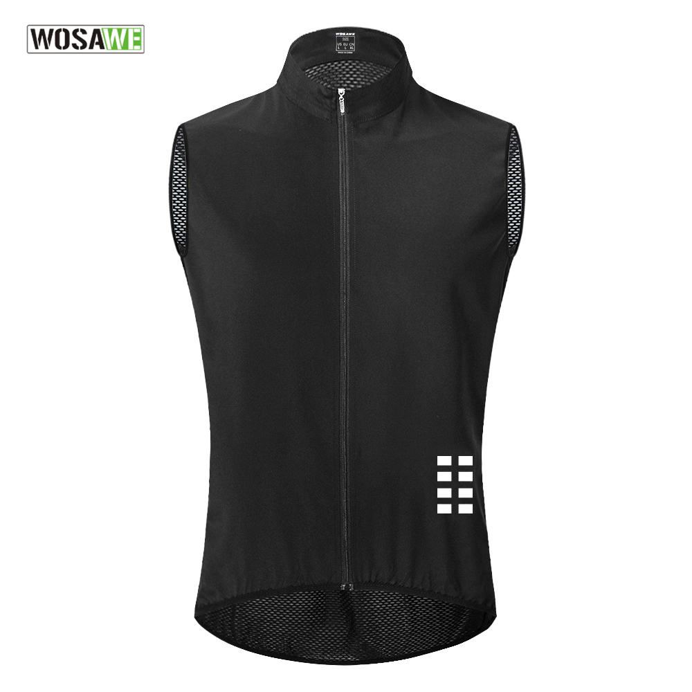 WOSAWE Reflective Cycling Vest Windproof Lightweight Ciclismo Mtb Bike Sleeveless Jersey Breathable Mesh Clothing Cycling Gilet