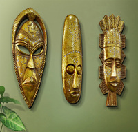 Hot Golden Exotic African Masks Portraits Resin Hanging Wall Mural Wall Hanging Ornaments Home Accessories Best