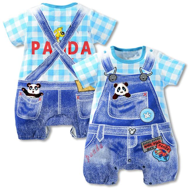 100% Cotton SHort sleeve Baby rompers ,Summer climb clothes 1 piece overall Gentleman Tie baby jumpsuits 6 COlors Panda rompers baby rompers o neck 100