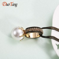DuoTang New Simulated Pearl Ball Pendant Long Necklace 2017 Top Qiality Trendy Women Black Chain Fashion