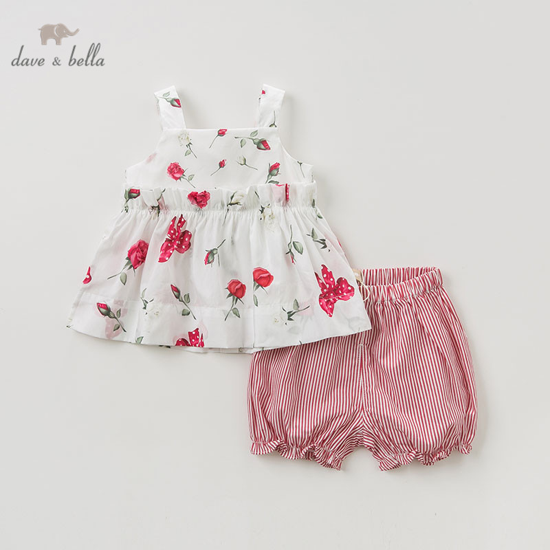 DB10233 dave bella summer baby girl fashion clothing sets girls lovely sleeveless suits printed childrenDB10233 dave bella summer baby girl fashion clothing sets girls lovely sleeveless suits printed children