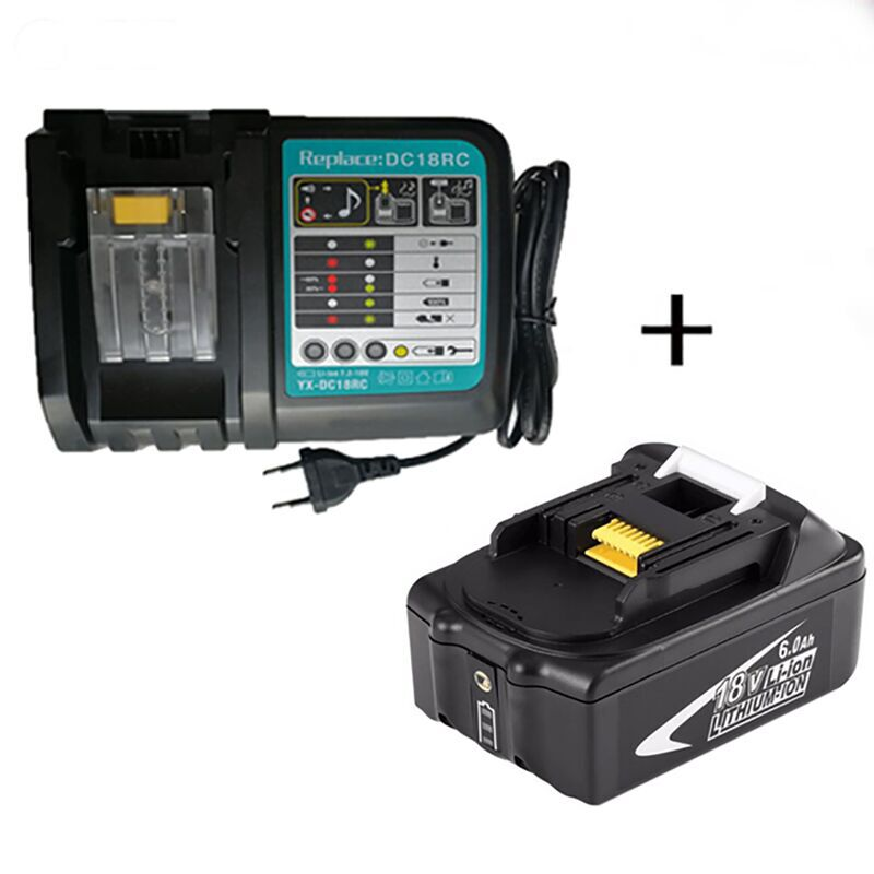 Pour Makita 18v 6AH 6000mAh batterie Li-Ion Rechargeable pour MAKITA BL1860 BL1850 BL1830 outil électrique avec chargeur de batterie DC18RCT