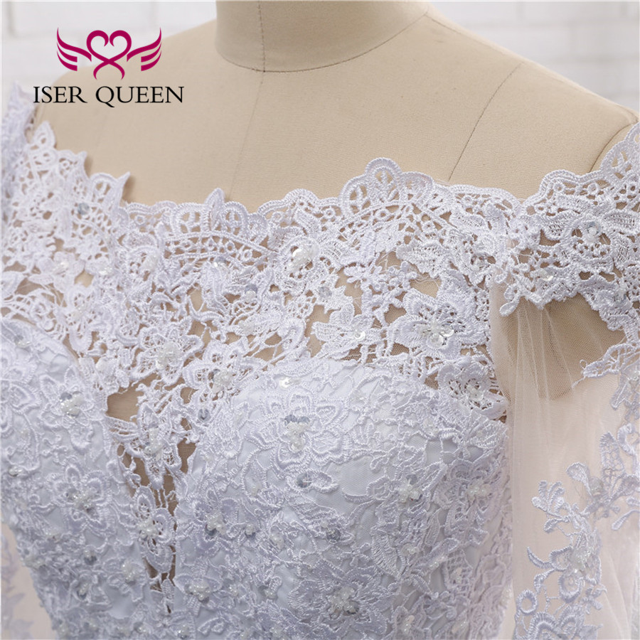 Image 5 - Illusion Back Sexy Wedding Dress A line Long Sleeves European Wedding Gowns 2019 Lace Embroidery Wedding Dresses W0274-in Wedding Dresses from Weddings & Events