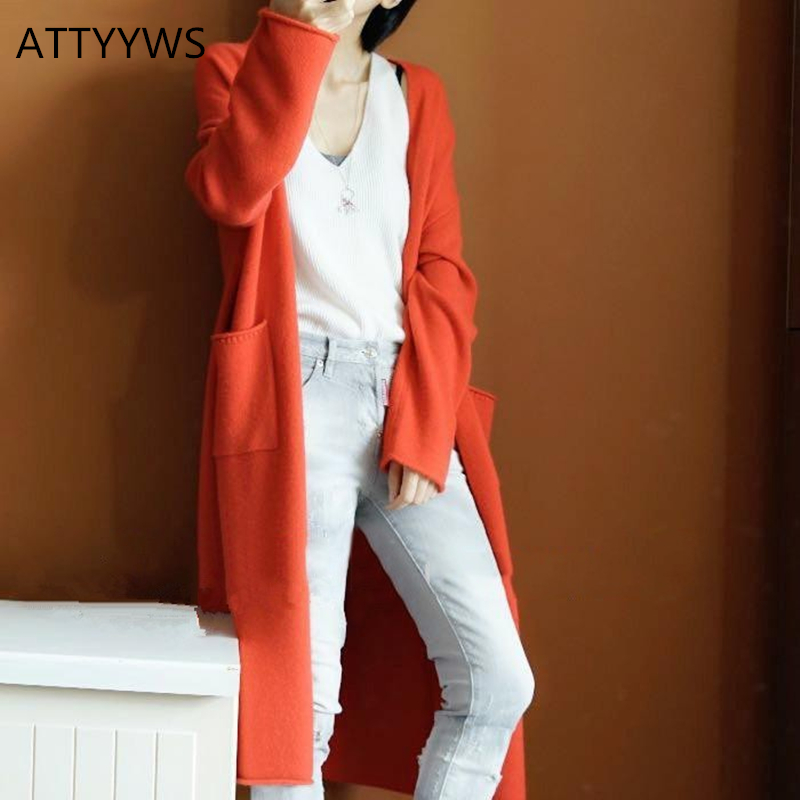 Europe and the United States popular new cashmere coat female long V neck loose sweater solid color knit cardigan wool coat 2018