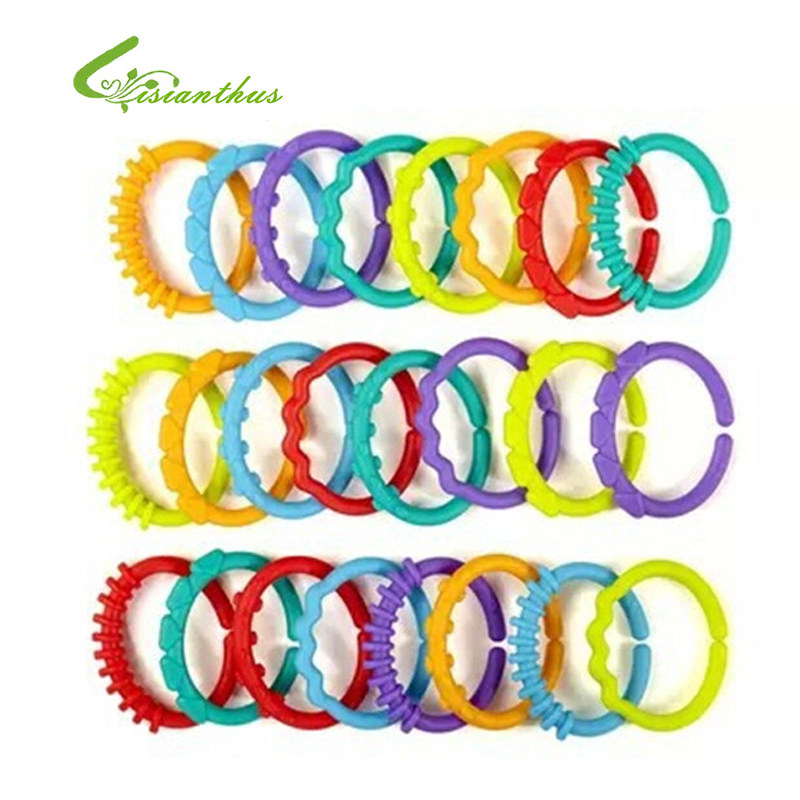 24pcs pack Large Bright Starts Brand Rainbow Circle Their Fingers Connected Loop Baby Boys Girls Toys
